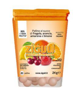 Ziguli Mix Amarena, Arancia, Fragola, Limone 40 Palline 24 g