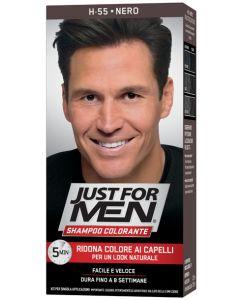 Just For Men Shampoo Colorante H55 Nero Attivatore Chiaro 38,5 ml + Base Colore 27,5 ml