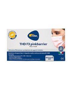 Mascherina Chirurgica Thd Mask f3 Pinkbarrier Taglia Regulare 20 Pezzi